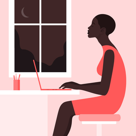 The African girl is sitting at the desk in the profile. Woman typing text on laptop. Work at night. Home Office. Vector Flat Illustration