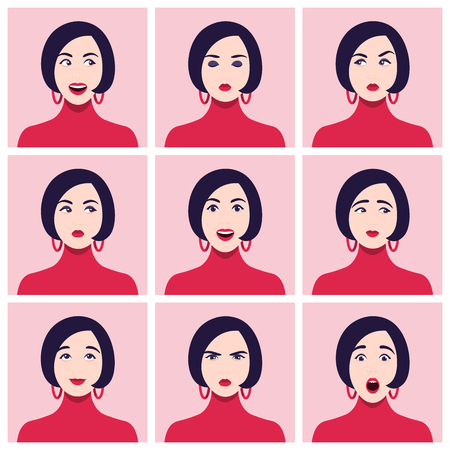 A woman's face. Different emotions and feelings. Set of portraits. Vector Flat Illustration