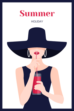 Portrait of a beautiful woman. A girl drinks juice through a straw. Rest at the resort. Vector Flat Illustration