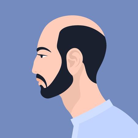 Hombre asiático con barba. La cabeza de una persona de perfil. Retrato. Avatar. Vector ilustración plana
