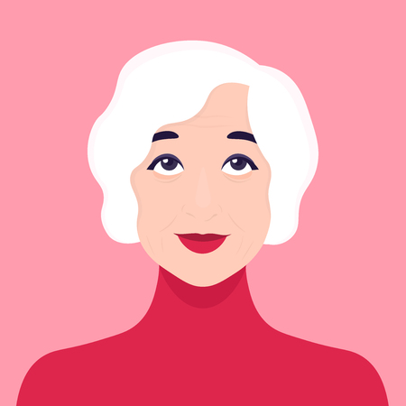 The face of an elderly retired woman, Vector Flat illustration