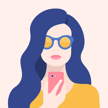 Portrait of a woman with a phone. Addiction on the smartphone and the Internet. Social networks. Vector Flat Illustration Ilustracje wektorowe