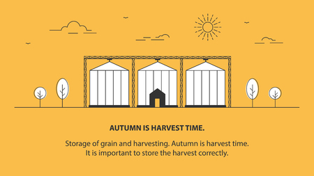 The grain elevator. Crop storage. Farm. Agriculture. Vector linear illustration