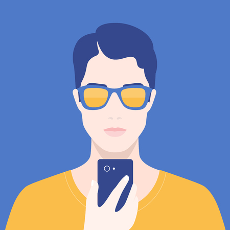 Portrait of a man with a phone. Addiction on the smartphone and the Internet. Social networks. Vector Flat Illustration Vektorové ilustrace