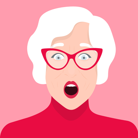 Portrait of an elderly woman with glasses. Shock and surprise. Emotions. Pensioner Vector flat illustration