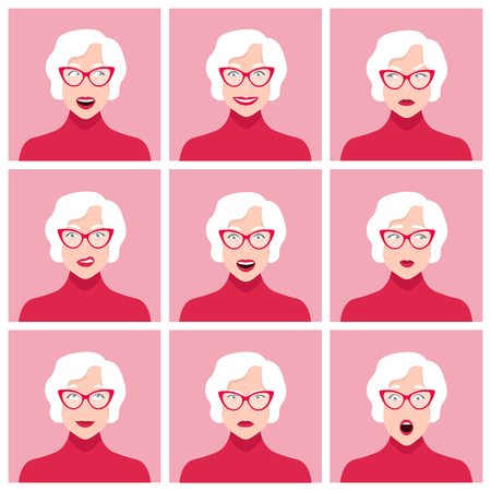 A old woman's face. Different emotions and feelings. Set of portraits. Vector Flat Illustration  イラスト・ベクター素材