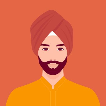 Retrato de un hombre sij. La cabeza de un chico con barba con turbante. Retrato con traje típico. Ilustración vectorial plana
