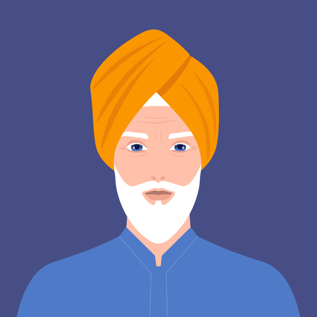 Portrait of an old man. The head of a sikh with a beard in a turban. Portrait in traditional costume. Vector flat illustration