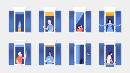 People in window frames. Neighbors that live in apartments. The facade of the house. Vector flat illustration