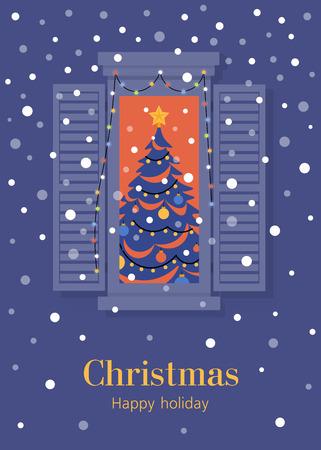 Albero di Natale in vetrina. Capodanno in un appartamento di città. Cartolina. Illustrazione piatta vettoriale Vettoriali