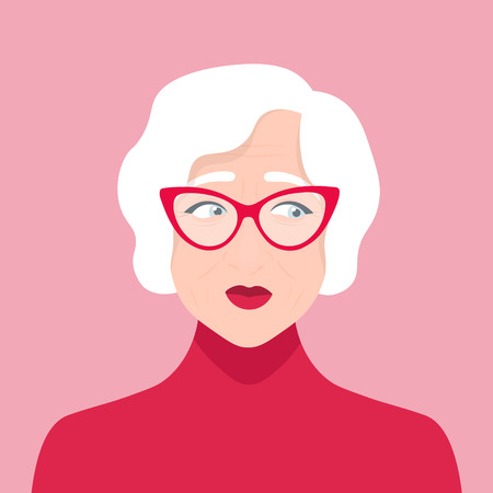 Elderly woman doubts. Portrait of a grandmother. Indecision. Vector flat illustratio