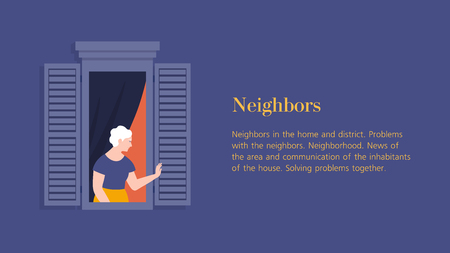 Old woman in the window of an apartment. A neighbor waving and greeting. Template banner with text. Vector flat illustration
