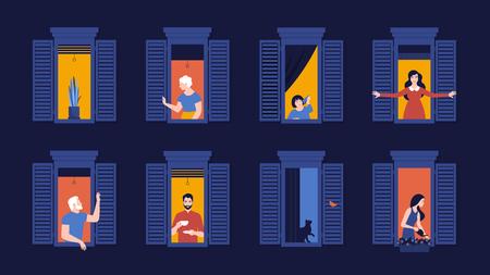 창틀에 있는 사람들. 이웃의 저녁은 아파트에 산다. 밤. 집의 외관입니다. 벡터 평면 그림