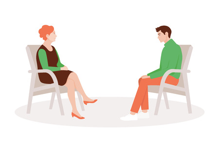 A woman psychologist and her patient are sitting in chairs. Psychiatrist consultation. Psychotherapy. Psychoanalysis. Treatment of depression. Vector flat illustration