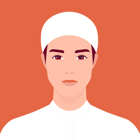 Portrait of a young Arab man. Oriental student. The guy in national clothes. Vector flat illustration  イラスト・ベクター素材