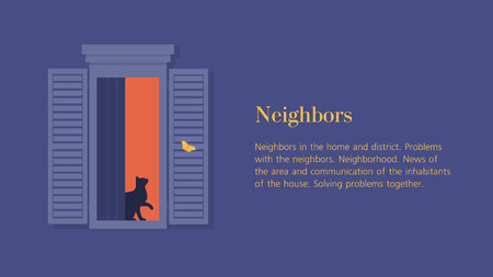 Cat in the open window. Neighbors. Facade of a residential building. Summer night. Vector flat illustration 벡터 (일러스트)