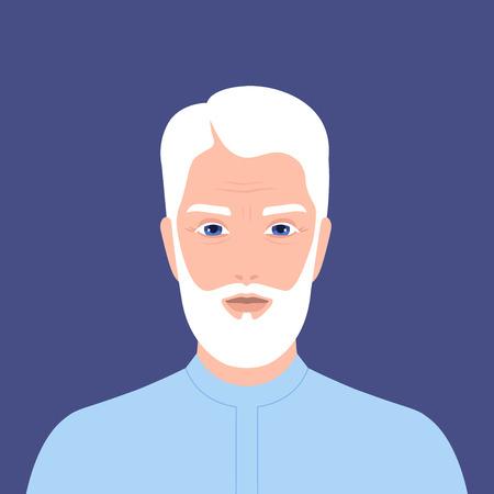Retrato de un hombre árabe con barba. Jubilado. Abuelo. Ilustración vectorial plana
