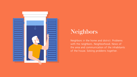 Grandfather waving from the window. Elderly neighbor welcomes. Horizontal banner with text. Vector flat illustration