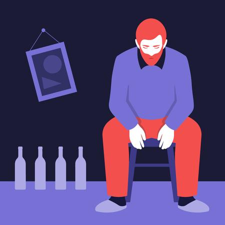 Anonymous Psychological addiction. Vector flat illustration