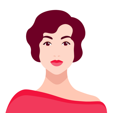 Portrait of a elegant woman. Avatar. Flat Vector illustration
