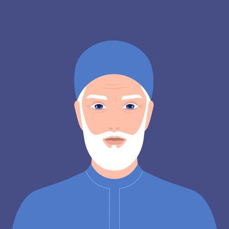Portrait of an arab man with a beard. Retiree. Grandfather in national clothes and a headdress. Vector flat illustration
