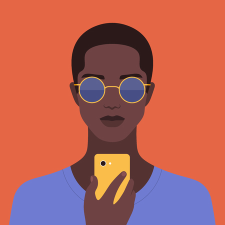 Portrait of an african man with a phone. Addiction on the smartphone. Social networks. Vector Flat Illustration