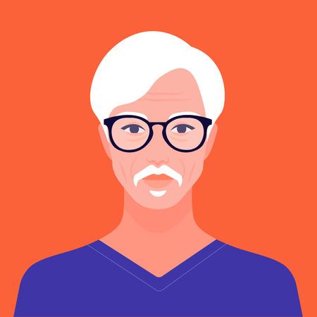 Portrait of an old oriental man. Avatar of an Asian retiree. Vector flat illustration