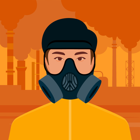 Smog and no emissions of enterprises. Environmental problems of cities. Smoking pipes of factories. Vector flat illustration