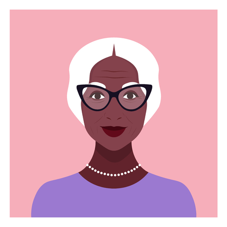 Portrait of an elderly African woman. Avatar for a social network. Diversity of nations and races. Vector flat illustration