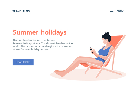 Woman sitting in a lounge chair on a white background. Summer holidays in the southern resorts. Vector flat illustration Stock Illustratie