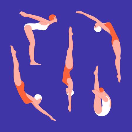 Zestaw kobiet w strojach kąpielowych w różnych pozach. Skoki do wody. Sporty wodne. Płaskie ilustracji wektorowych