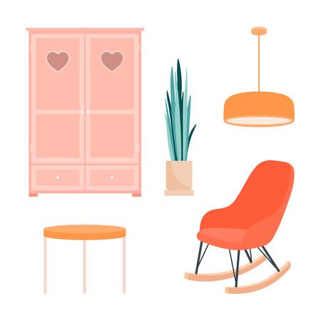 Eine Reihe von Artikeln für den Raum auf weißem Hintergrund. Sessel, Schrank, Tisch, Pflanze, Lampe im Retro-Stil. Flache Vektorgrafik