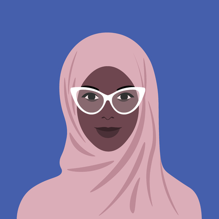 Portrait of African in hijab and glasses. Muslim girl avatar. Vector flat illustration