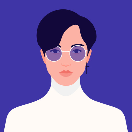 Portrait of a fashionable guy. Young asian man. Avatar students. Vector flat illustration Ilustração