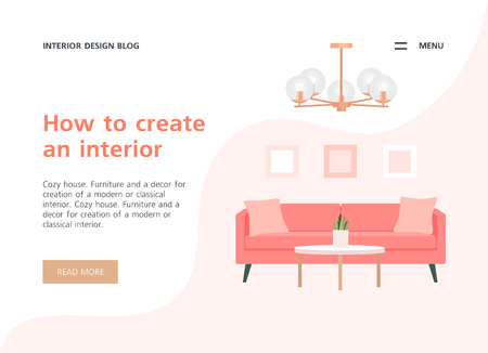 Website template online store or site. Living room in the apartment. Vector flat illustration