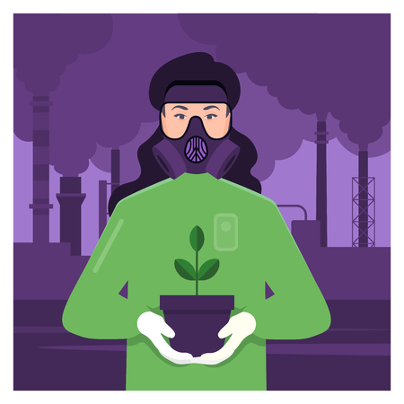 He has a plant seedling in a pot. Vector flat illustration
