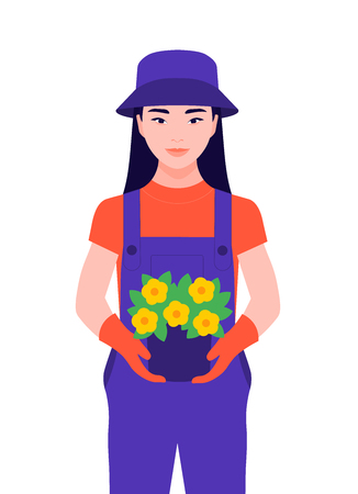 A girl with a potted plant. The child grows plants in the garden. Vector flat illustration