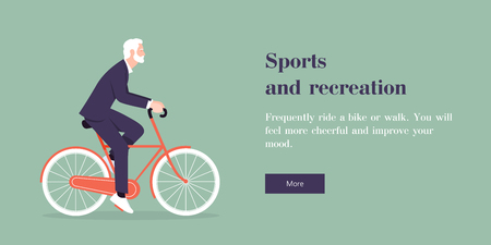 A man in a business suit riding a bicycle. Web site template. Vector flat illustration