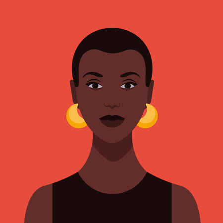 Portrait of an African woman. Avatar girls for social networks. Vector flat illustration