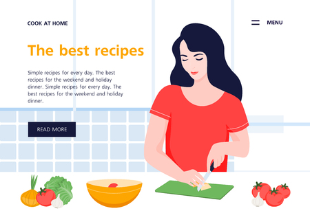 Healthy food in the kitchen. Website template. Vector flat illustration 向量圖像