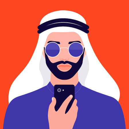 Portrait of a young man with a beard. Oriental businessman in sunglasses. The guy in national clothes. Vector flat illustration