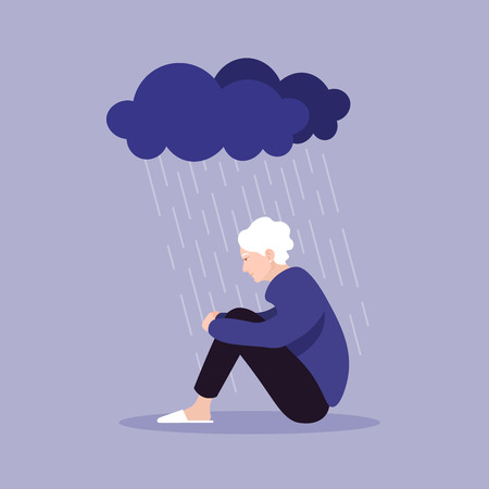 Profile of an old woman. A pensioner sits clasping her legs. Depression and melancholy. Vector flat illustration