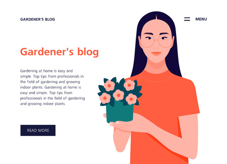 Asian girl holding a potted plant. Template for web site and presentation. Landing page. Vector flat illustration