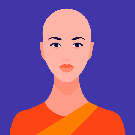 Avatar is a young Buddhist nun. Portrait of a bald Indian woman. Vector flat illustration