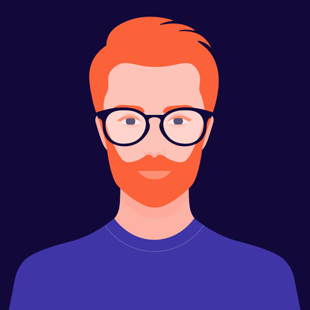 Portrait of a redhead man. Avatar of a businessman with glasses. Colorful portrait. Vector flat illustration