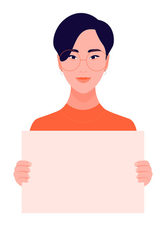 A girl short hair is holding a poster. Feminism and womens rights. A student is protesting. Vector flat illustration