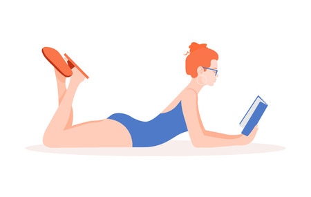 A woman in a swimsuit is lying and reading a book. Education and recreation. Female student on vacation. Vector flat illustration