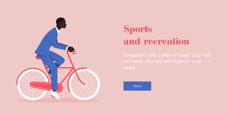 An African man in a business suit riding a bicycle. Web site template. Vector flat illustration
