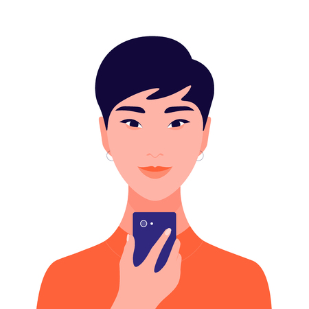 Portrait of an asian girl holding a mobile phone in her hand. Avatar female student. Addiction on the Internet and social networks. Vector Flat Illustration