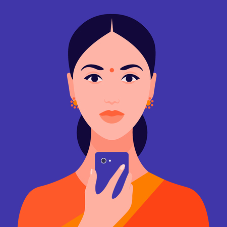 Portrait of an Indian girl holding a mobile phone in her hand. Avatar female student. Addiction on the Internet and social networks. Vector Flat Illustration